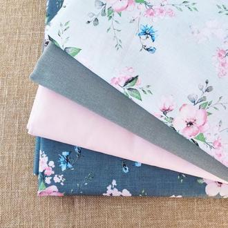 """Набор ткани """"Цвет яблони в серо-розовых тонах"""""""