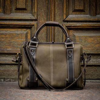 Мужская кожаная деловая сумка. Сумка для ноутбука и документов