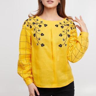 Блуза женская Златослава (лен желтый)