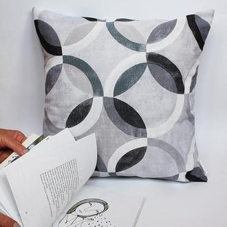Декоративная подушка геометрия, серая подушка, декоративна подушка черно-белая Киев, подушка желтая