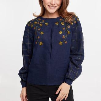 Блуза женская Златослава (синий лен)