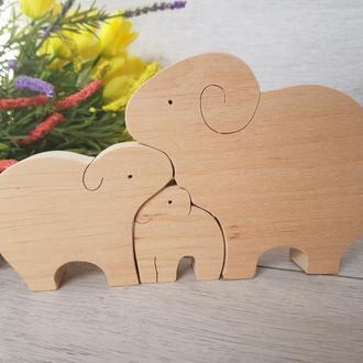 Дерев'яний пазл іграшка Пазли Сім'я баранів Вівці Екоіграшка для розвитку
