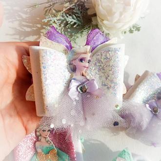 Бантики резинки банты с Єльзой бант для волос Фроузен с принцессами Холодное сердце