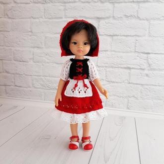 В'язана одяг на ляльку Паола 32 см, костюм Червоної Шапочки для ляльки, подарунок дівчинці