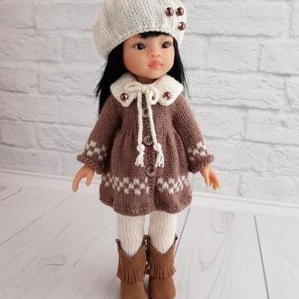 В'язана одяг на ляльку Паола 32 см, пальто для ляльки, подарунок дівчинці
