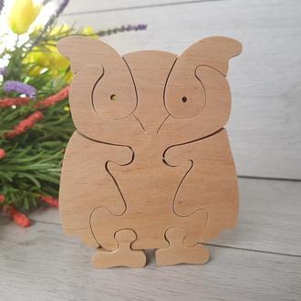 Деревянный пазл игрушка Сова Филин Єкоіграшка для развития