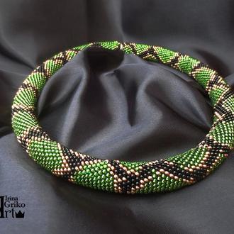 """Джгут """"Зелена змія"""" з бісеру"""