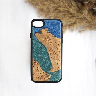 Чехол из дерева и эпоксидной смолы для iPhone 7/8 цвет морской волны