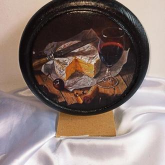Готовое изделие Сырная доска ′Сыр и вино′ для оригинальной подачи закусок, для сервировки стола