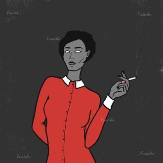 Иллюстрация молодой девушки с сигаретой