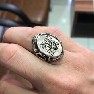 Кільце QR-код під емаллю індивідуально під замовлення 925 проби на безіменний палець ручної роботи