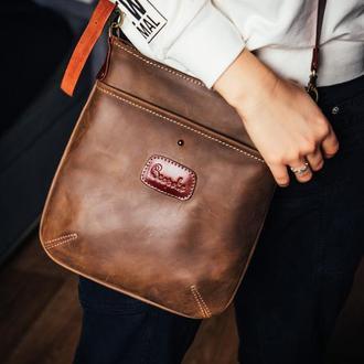 """Женская кожаная сумка """"Kangoo"""" /городская сумка-кроссбоди  /подарок для девушки"""