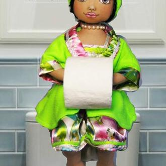Интерьерная текстильная кукла для ванной комнаты.