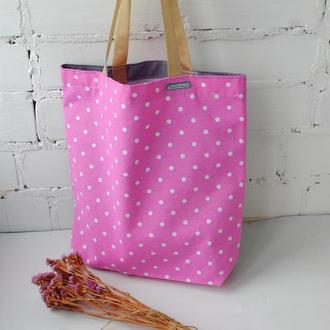 Эко сумка для покупок розовая/горошек, тканевая сумка пакет, еко торба, шоппер