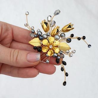 Черно-золотистое украшение для волос, гребешок в прическу, украшение в прическу, заколка черная