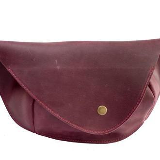 Кожаная поясная сумка. 07016/бордо