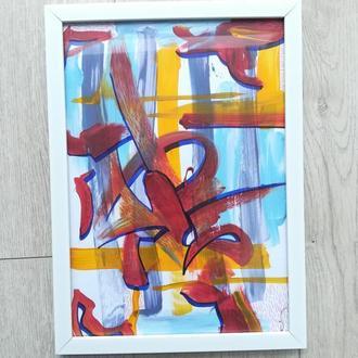 Абстрактная картина в рамке А4 формат