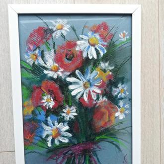 Картина в рамці Квіти маки ромашки в букеті А4