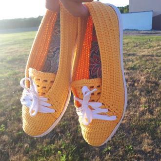 Вязаные слипоны ′Лето′, летняя обувь, вязаная обувь на заказ, эспадрильи, слипоны, мокасины