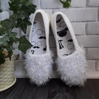 Вязаные слипоны ′Какигори′, мокасины, летняя обувь, вязаная обувь на заказ, тапочки, эспадрильи