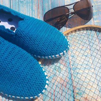 Вязаные слипоны ′Морское настроение′, мокасины, эспадрильи, тапочки