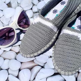 """Вязаные слипоны """"Классические серые"""", мокасины, летняя обувь, вязаная обувь на заказ, эспадрильи"""