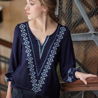 Блуза жіноча Желана (штапель темно-синій)
