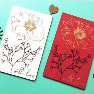 Деревянная открытка «Цветы» With love