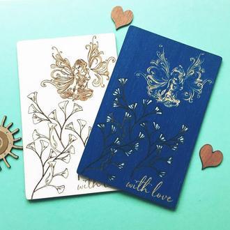 Деревянная открытка для девушки