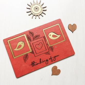 Деревянная открытка «Думаю о тебе «