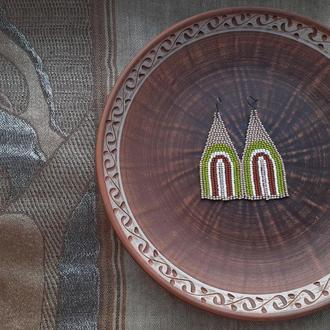 Абстрактные серьги из чешского бисера, радуга, эстетика, сережки в стиле бохо