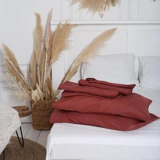 Крафтова Постільна білизна з 100% льону Indian red
