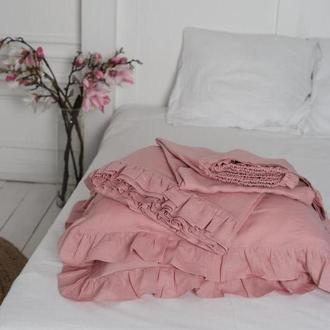 Крафтовое постельное белье из 100% льна з рюшами Orchid