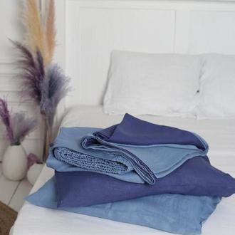Крафтового постільна білизна з 100% льону двоколірна Blue