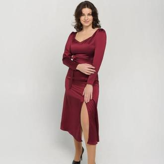 Шелковое платье бардо миди с поясом и разрезом