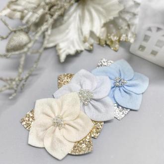 Повязка Анемоны из фетра с бисером, повязочка для девочки с цветами