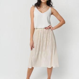 Бело-молочная юбка плиссе миди с блестками