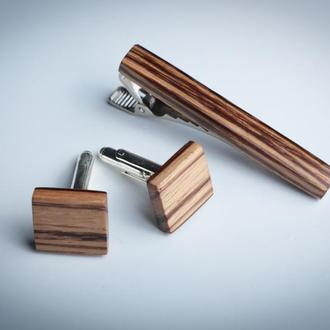 Набор деревянных запонок и зажима