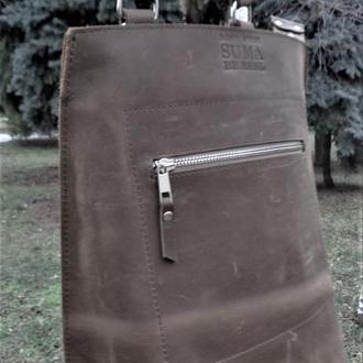 """Минималистичный рюкзак из натуральной винтажной кожи """"Крэйзи хорс"""""""