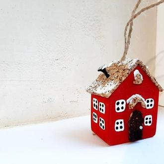 Новорічна іграшка на ялинку Reindeer Moss w-001-09-600-4x6 червоний