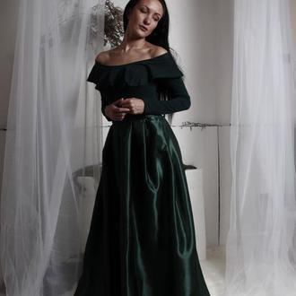 изумрудная темно зеленая атласная юбка в пол атласный пояс