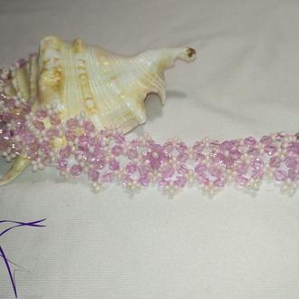 """Свадебный браслет """"Азалия"""" в белом и лиловом цвете!"""