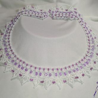 """Свадебное колье и серьги """"Гиацинт"""" в белом и фиолетовом цвете!"""
