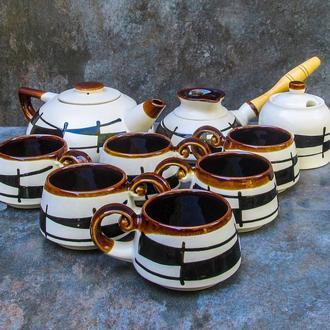"""Чайно-кавовий сервіз Великий, декор """"Ґаларетка"""" чорно-білий"""