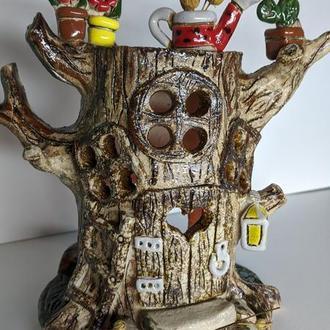 Керамический домик аромалампа дерево. Подсвечник