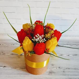 Букет из мыла  Тюльпаны желтые и красные.