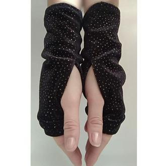 Перчатки без пальцев из трикотажа митенки женские черные с люрексом