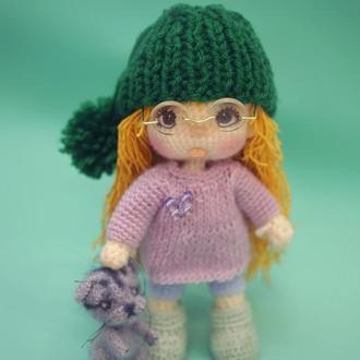 Кукла Ариша с котенком