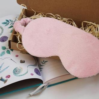 Плюшевая розовая маска для сна киев, повязка на глаза киев, маска для сну рожева