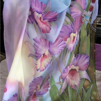 платок сиреневые орхидеи батик